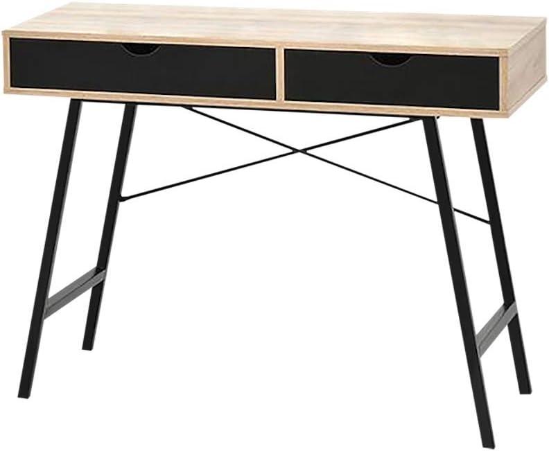 48 x 100 x 78 cm Color Negro Mesa de Escritorio escandinava con 2 cajones Selsey Falun Metal