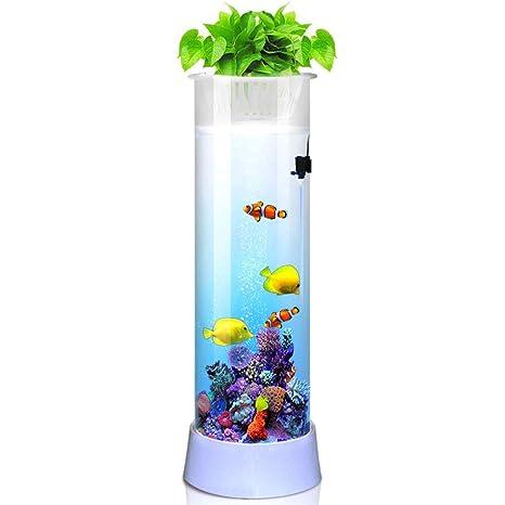Suna Acuario Pecera Agua Libre Cilíndrica Vidrio Salón Eco-Cilindro