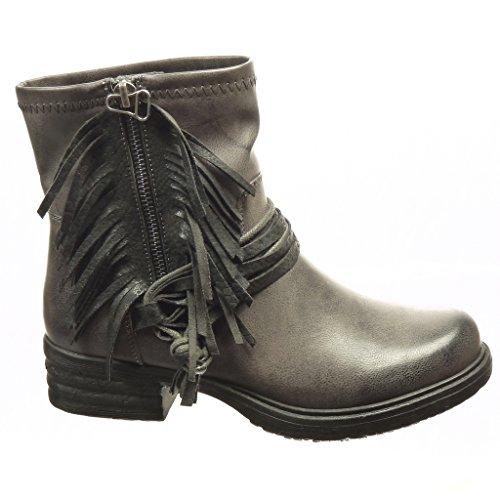 cm Booty Biker Grey Straps Boots Ankle Cavalier Heel 4 Multi Fashion Angkorly Snakeskin Women's Shiny Block Shoes wXFZZ0