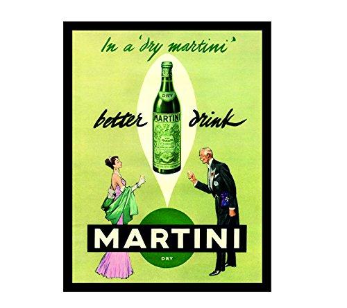 Ecool Placa met/álica de pared Better Drink Martini retro shabby chic estilo vintage con im/án para nevera