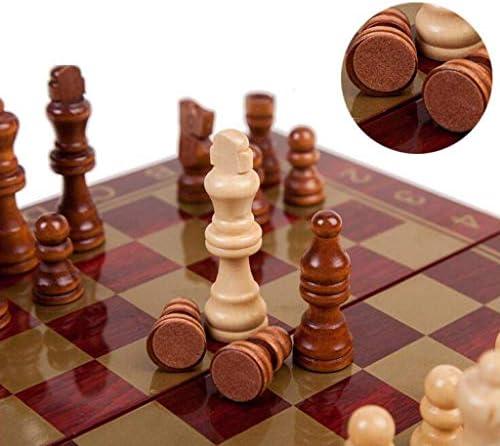 Schaakspel Houten schaak Draagbaar schaakbord Vouwbord Schaakspel Internationale schaakset voor feest Familie-activiteiten Terug (intellectuele denkoefening)