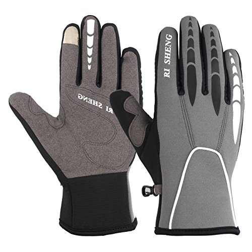 SHARBAY Winter Touch Screen Biking Gloves Warm Windproof Cycling Gloves Cold Weather Working Out Gloves for Men Women (Gray, L)