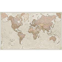 Maps International Giant World Antique MegaMap - Laminated/Encapsulated 77.5 x 46 inches