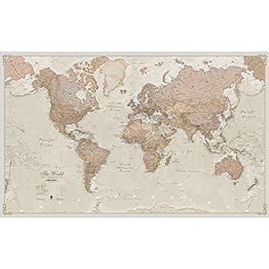 Mapa del mundo grande estilo antiguo, laminado y encapsulado, con un tamaño de 197cm de ancho x 116,5cm de alto