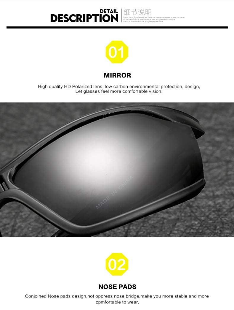 YLNJYJ Polarized Sunglasses Outdoor Sport Square Sun Glasses Brand Sunglasses For Men Goggle Eyewear De Sol Feminino