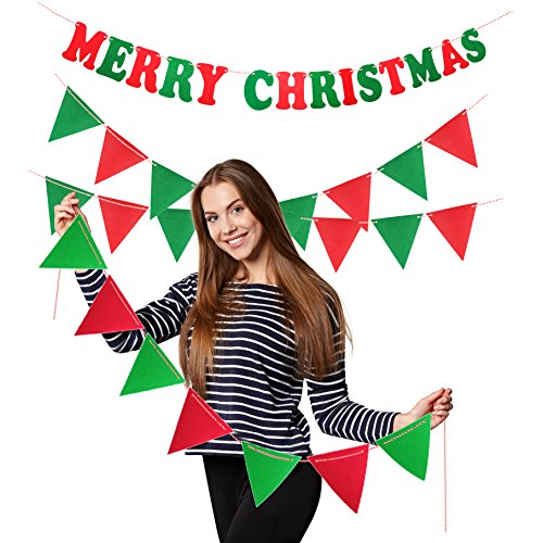 Treasures Gifted Merry Christmas Garland Celebrate a Holiday Red and Green Felt Banner Bunting School Office Winter Wonderland Party Decorations]()