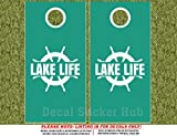 Lake Life Cornhole Board Decals - WHITE - 4PC Sticker Set Fit for Bean Bag Toss Game - Die Cut DIY Game Board Stickers - DECALS ONLY