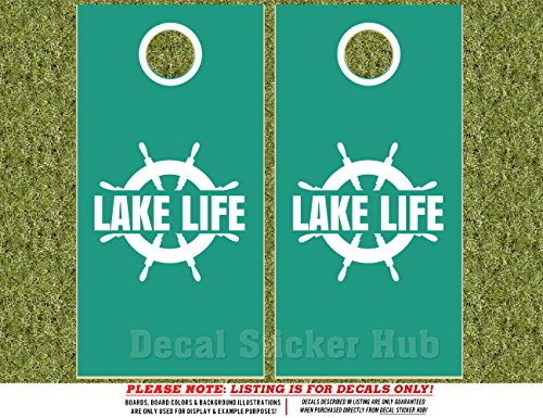 Lake Life Cornhole Board Decals - WHITE - 4PC Sticker Set Fit for Bean Bag Toss Game - Die Cut DIY Game Board Stickers - DECALS ONLY -