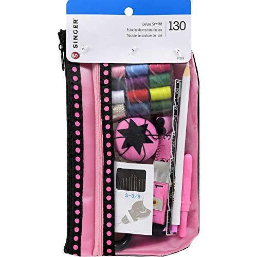 Singer Beginner's Sewing Kit, Pink/Black (Singer Tape Sewing)