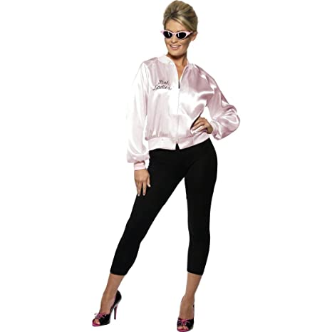 check out c804f e610d NET TOYS Giacca da donna lucida in stile Grease - Logo Pink ...