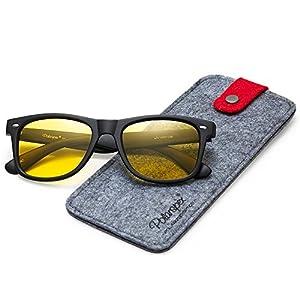 Polarspex Polarized Unisex 80's Retro Classic Trendy Stylish Sunglasses (Matte Black   Night Driving Yellow, 52)