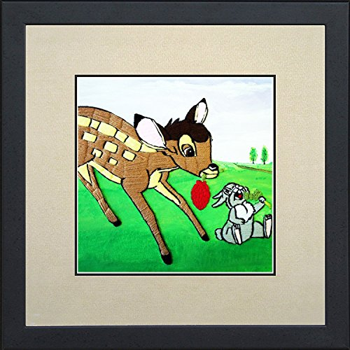 Needlepoint stitched painting of Bambi with rabbit Thumper. Handmade. Canvas