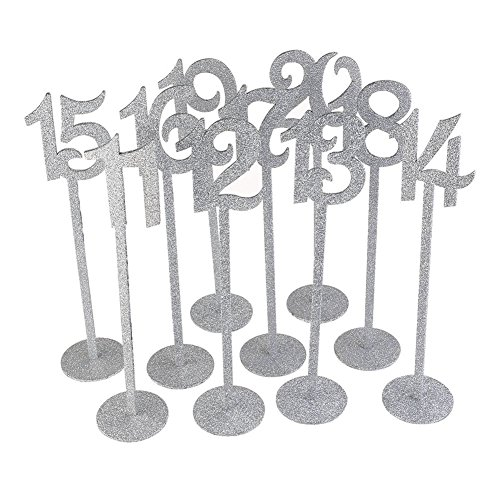 SODIAL(R) Wedding Table Numbers Holders Thicken Wood with Glitter, Silver by SODIAL(R) (Image #2)