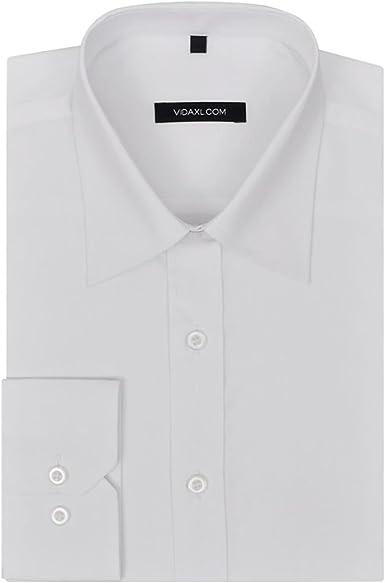 vidaXL Camisa de Vestir Hombre Talla L Blanca Formal Casual ...