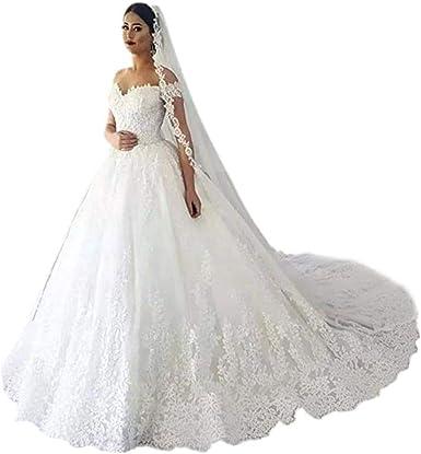 Andybridal Gorgeous Plus Size Off Shoulder Lace Court Train Bridal Gowns  Wedding Dress for Bride 2019