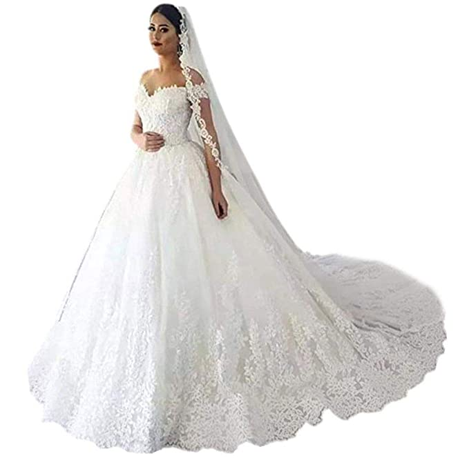 Andybridal Gorgeous Plus Size Off Shoulder Lace Court Train Bridal Gowns  Wedding Dress for Bride 2019