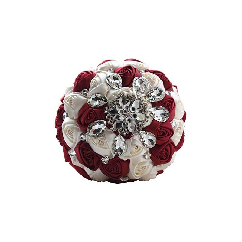 silk flower arrangements moleya 7 inch customization romantic burgundy wedding bride holding bouquet with satin roses and rhinestones