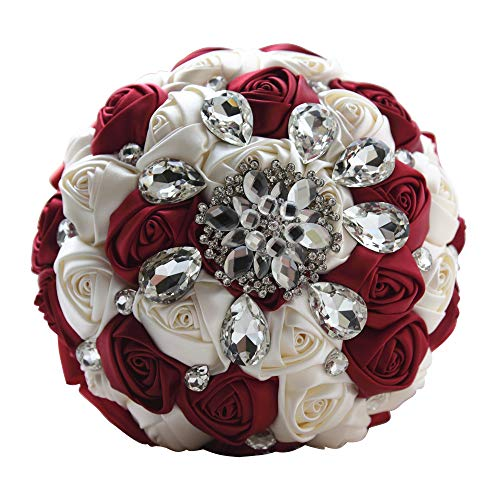 Moleya 7 Inch Customization Romantic Burgundy Wedding Bride Holding Bouquet with Satin Roses and Rhinestones (Red Bridal Toss Bouquet)