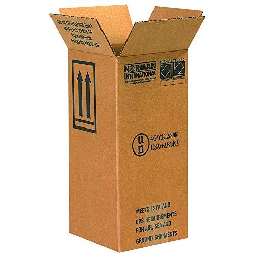 "Aviditi HAZ1050 1-1 Gallon Plastic Jug Haz Mat Boxes, 6"" x 6"" x 12 3/4"", Kraft (Pack of 20)"