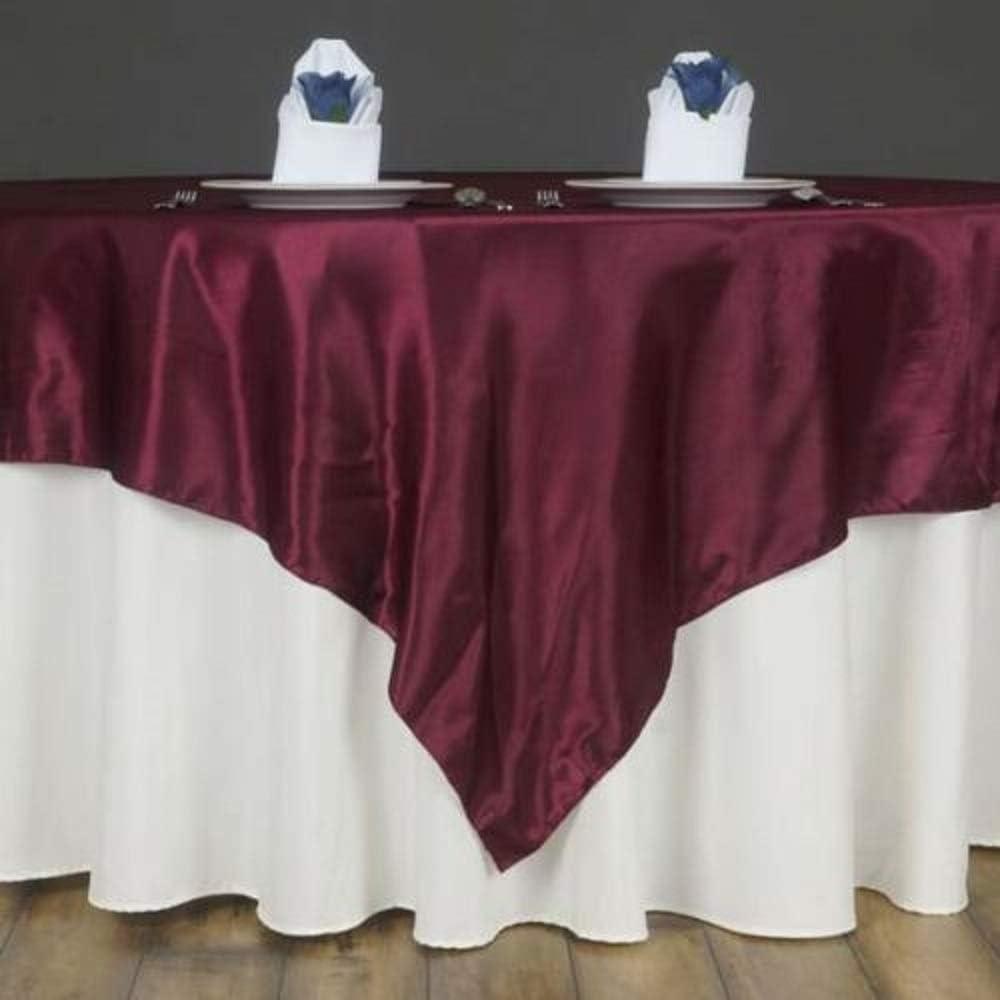 72 Satin Square Table Overlay Burgundy YSefa