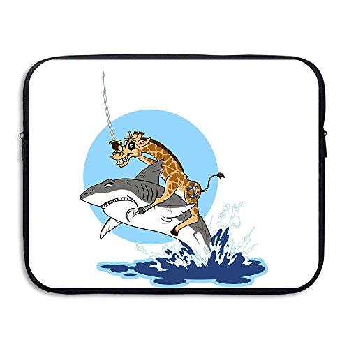 Custom Laptop Sleeve 13/15 Inch Tablet Zipper BriefcaseFunny Giraffe Knight Shark Print Messenger Bag