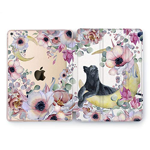 Wonder Wild Moon Cat iPad Case 9.7 Pro inch Mini 1 2 3 4 Air 2 10.5 12.9 2018 2017 Design 5th 6th Gen Clear Print Smart Hard Cover Flowers Flora Pink Girly Blooming Popper Bouquet Animals Colorful