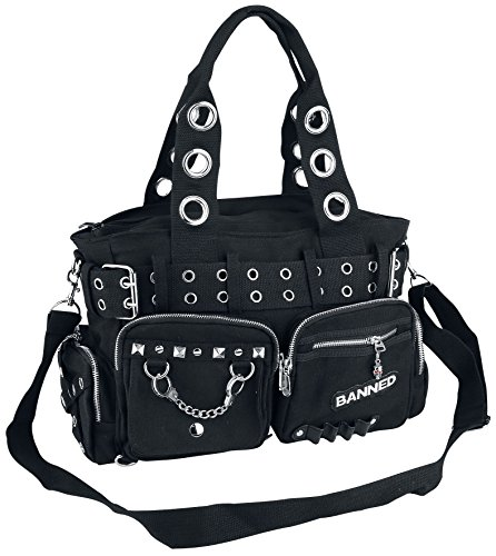 Banned Apparel Handcuff Black Canvas Silver Studded Vegan Gothic Handbag (Gothic Tote Bag)