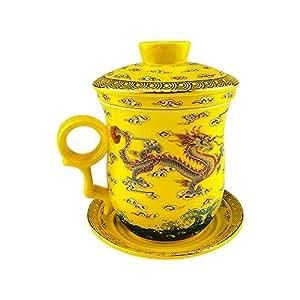Yellow Gold Dragon Bone China Taza de té de cerámica Porcealin chino con tapa y platillo