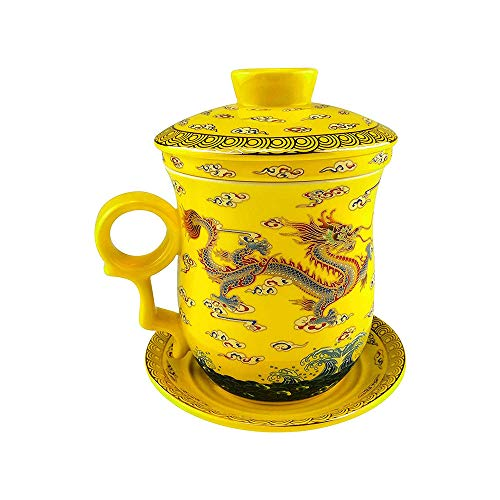 ufengke Oriental Modern Bone China Ceramic Tea Cup With Lid And Saucer, Birthday Present Cup, Hand Painted Yellow Gold Dragon, Yellow