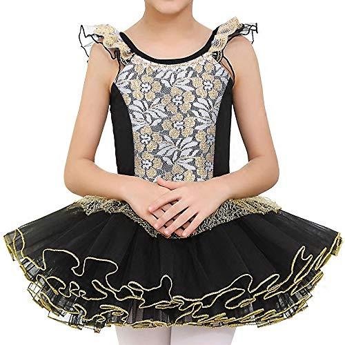 BAOHULU Little Girls Leotards Dance Ballet Tutu Princess Dress Ballerina Costumes 3-8Y Ruffle Sleeve (Gold Black, 6-7 Years)