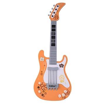 STOBOK Guitarra eléctrica para niños Juguete de simulación Instrumento Musical Niños Juguetes educativos tempranos Batería no incluida (Naranja): Amazon.es: ...