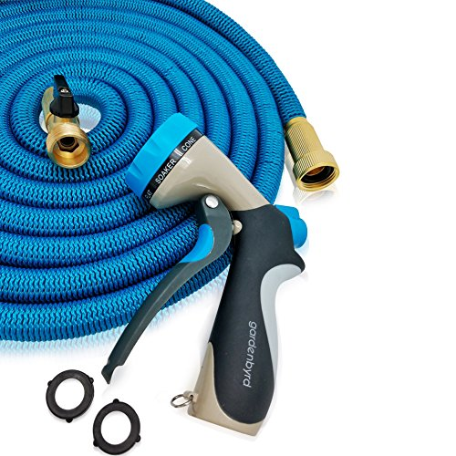 GARDENBYRD - Expandable Hose & Hose Nozzle, 50ft Water Hose with Brass Connectors and Triple Layer Latex comes with 8 Pattern Hose Nozzle and Washers, Blue, Black