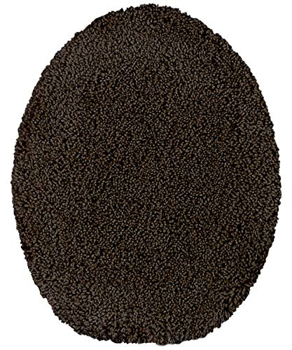 Maples Rugs Toilet Lid Cover - SofTec Soft Washable Elongated Seat Rug [Made in USA] Non Slip & Quick Dry for Bathroom, Dark Brown ()