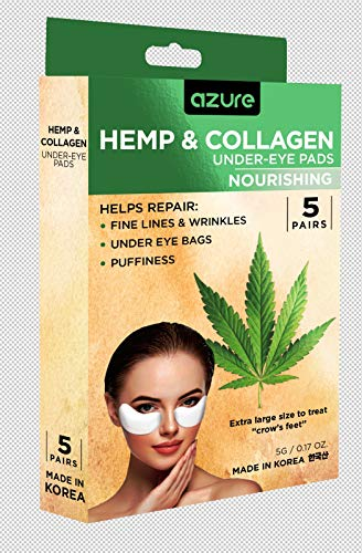 Hemp & Collagen Nourishing Under Eye Treatment - Reduces Fine Lines and Wrinkles | Smooths Under Eye Bags and Puffiness | Tones and Hydrates - 5 Pairs