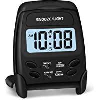Peakeep Small Folding Battery Operated Alarm Clock, Travel Digital Easy Operation Alarm Clock (Black)