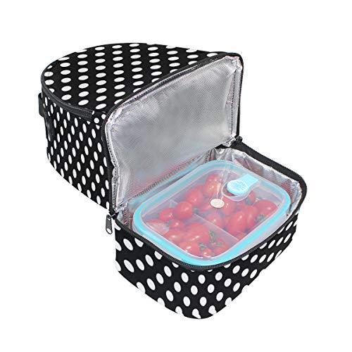 ajustable lunares picnic Bolso blancos negro para de de almuerzo correa color con doble diseño rTnYPaTqW
