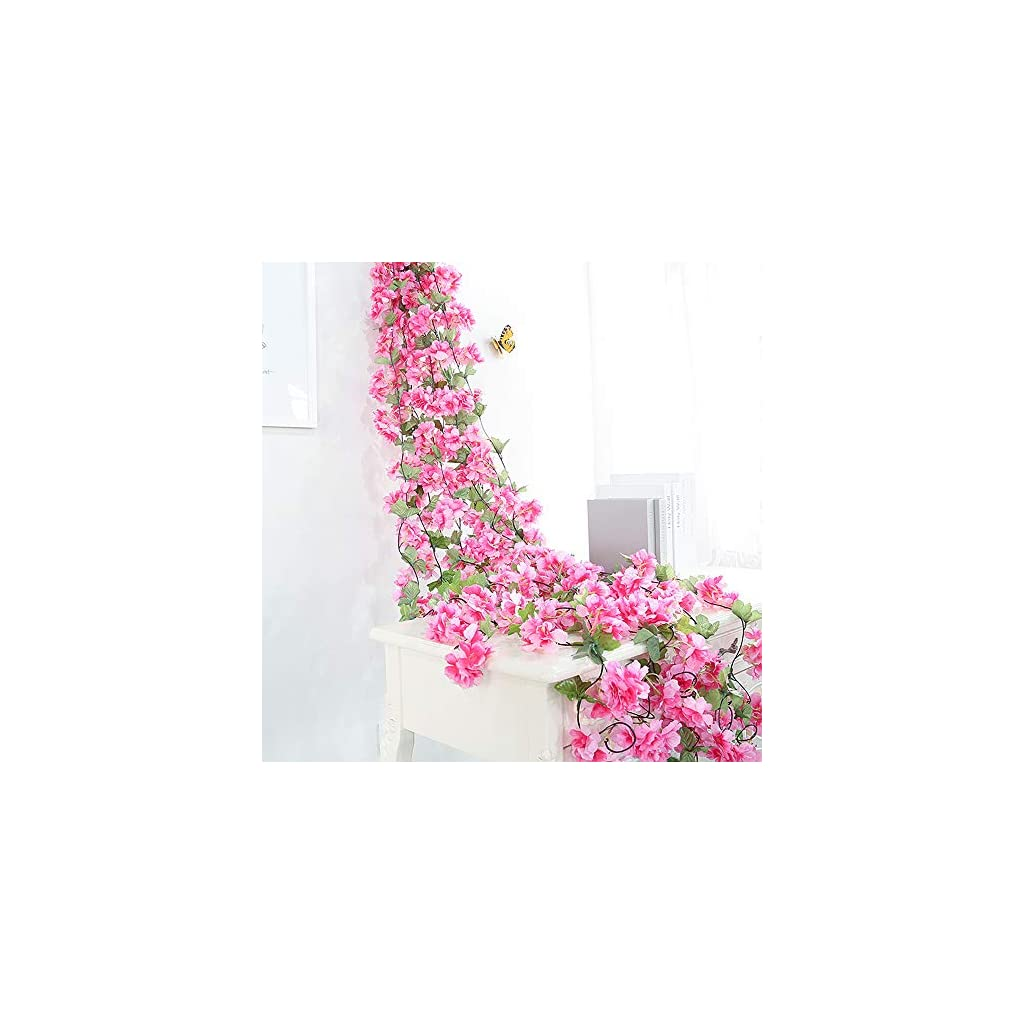 Hukidoy Artificial Cherry Blossom Garland Hanging Vine Fake Flowers Silk Garland Home Wedding Party Decor (Pack of 2)