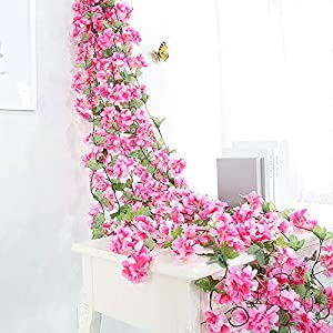 Hukidoy Artificial Cherry Blossom Garland Hanging Vine Fake Flowers Silk Garland Home Wedding Party Decor (Pack of 2) 3