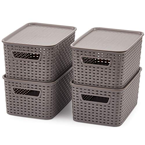EZOWare Small Gray Plastic Knit Shelf Stackable Storage Containers Baskets with Lids Perfect for Storing Small Household Items - Pack of 4 (11 x 7.3 x 5.1 inch) (Plastic Basket Lid With Fruit)