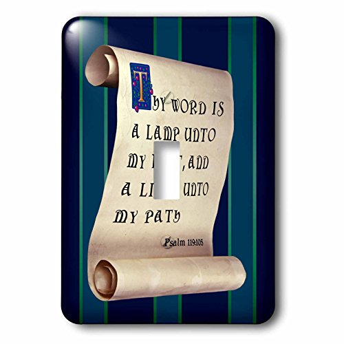 777images – Bible Promises – Psalm 119 verse 105 on a scroll with illuminated and medieval text – Light Switch Covers – single toggle switch (lsp_240594_1)