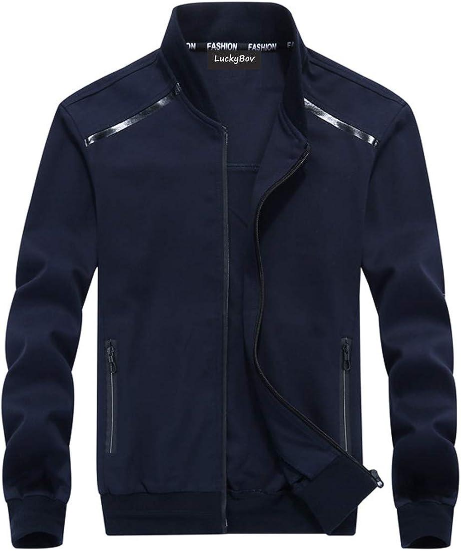 LuckyBov Men Spring Outdoor Coat Casual Lightweight Windproof Jacket Full Zip
