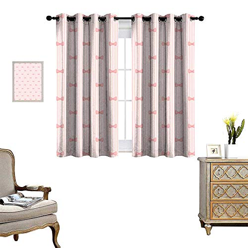 homehot Baby Waterproof Window Curtain Vertical Stripes with Bow Ties Pale Palette Illustration Lovely Valentines Day Blackout Draperies for Bedroom Rose Pale Pink (Stripe Twist Ties)