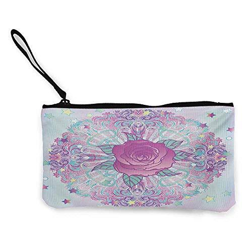 (Cash Bags Indie,Psychedelic Mandala Inspired Round Rose Figure 80s 90s Retro Vintage Vibrant,Pale Blue Lavander W8.5