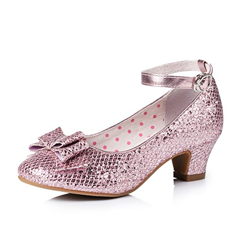 Alicorn Girl's Pink Glitter Low Heel Ankle-Strap Dancing