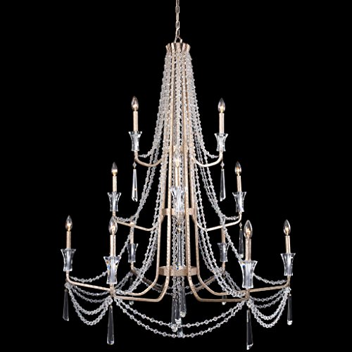 Varaluz 270C12TR Barcelona 12-Light 3-Tier Crystal Chandelier - Transcend Silver Finish Barcelona 12 Light Chandelier