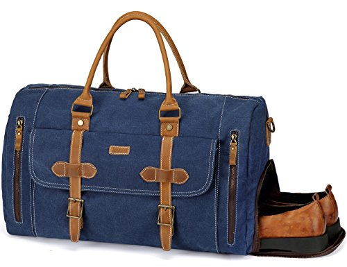 Canvas Duffel Bag,Vaschy Leather Canvas Duffle Tote with Shoe Compartment 46L Large Weekend Carry-on Holdall Baggage Sports Travel Bag Denim Blue from VASCHY