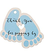 Summer-Ray 50pcs Baby Feet Baby Shower Favor Thank You Tags Thank You for Popping By (Blue)