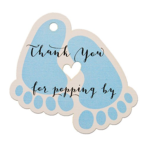 Summer-Ray 50pcs Blue Baby Feet Baby Shower Favor Thank You Tags Thank You for Popping by]()