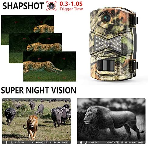 WOSODA【2 Pack】 Trail Game Camera, 16MP 1080P Waterproof Hunting Scouting Cam for Wildlife Monitoring with Night Vision LY123 (2 Pack)