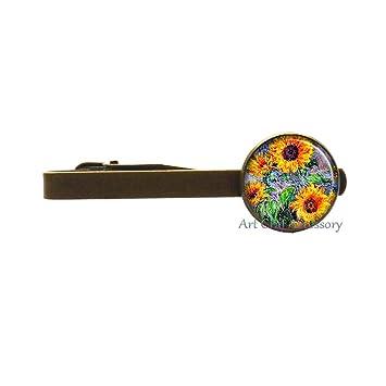 Sunflowers Art - Pinza para corbata, diseño de girasoles, joyería ...